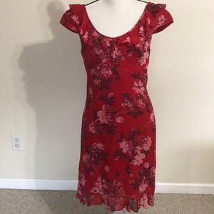 Hugo Boss dress Vintage sz 10 floral reds ruffles